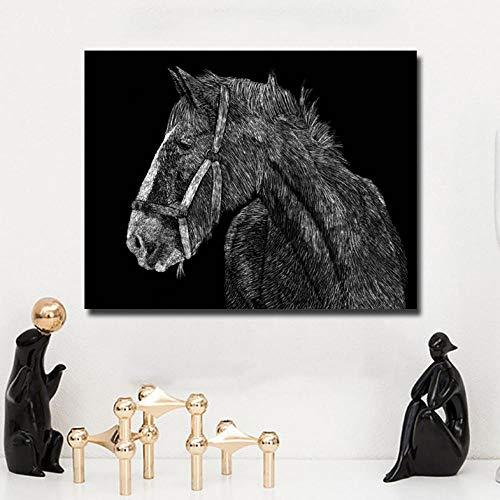 Cyalla Einfache Zugpferd Schwarz Und Weiß Bild Tier Kunst Für Wohnzimmer Home Wanddekoration Poster Gedruckt Auf Leinwand 60X75 cm (Halloween-nagel-kunst Weiß Und Schwarz)