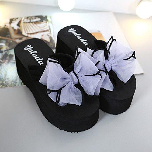Sommer koreanische Version des Flip Flops weiblich Bogen Hang mit rutschfeste Plattform hochhackigen Schuhe clip Füße mode Sandalen und Hausschuhe weiblich, 38 Plus size, schwarz high-heeled + lila Schmetterling