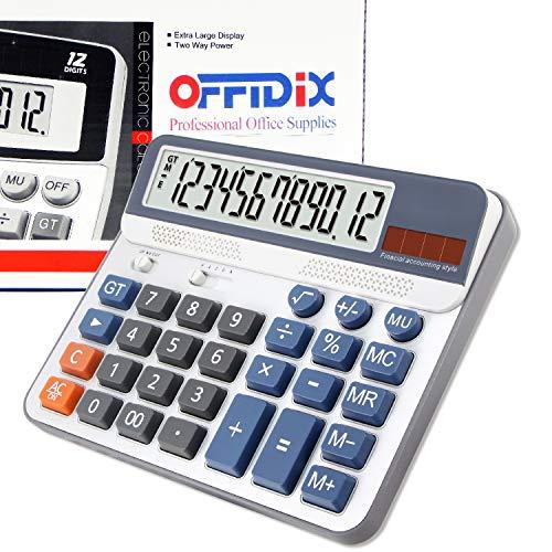 Extra große Anzeige Desktop-Rechner, OFFIDIX Tischrechner, Finanzbuchhaltung Stil elektronischer Taschenrechner Portable 12-stelliger Rechner