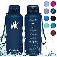 KollyKolla Trinkflasche - BPA-frei Auslaufsicher Sport Wasserflasche, 350/500/800ML/1L/1.5 Liter Tritan Sportflasche Kohlensäure Geeignet Kunststoff mit Filter für Kinder, Schule, Baby, Fahrrad,Gym