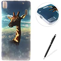 Lenovo A7000/Lenovo K3 Note case,Feeltech Flexible Ultra Thin Soft Gel TPU IMD Slim-Fit Bumper Case In-Mold Decoration Technology with Cute Cartoon Lightweight [Shock-Absorption] Elastic Silicone Rubber Skin Protective Back Cover Luxury Fashion Design Printed Pattern [with Free Stylus] Scratch Resistant Protector Shell for Lenovo A7000/Lenovo K3 Note - Giraffe