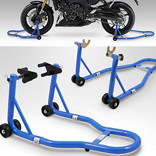 BITUXX Motorradständer hinten & vorn Motorrad Montageständer Transportständer Blau Belastbar bis 250 kg pro Ständer