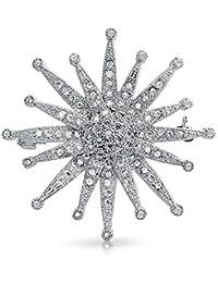 Bling Jewelry CZ Estilo Vintage Sunburst Broche Flor Polo chapados en Rodio nupcial