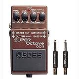BOSS Pedal OC-3 Super Octave con la serie Negro premium de 15 pies de cable Instrumento