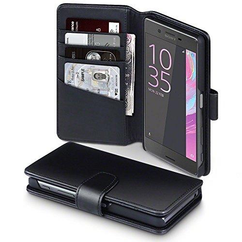 Sony Xperia X Case, Terrapin [ECHT LEDER] Brieftasche Case Hülle mit Kartenfächer und Bargeld für Sony Xperia X Hülle Schwarz