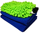 #10: Sobby Microfiber Cleaning Cloths 3 In 1 Combo For Car Care ( 2 Large Microfibre Cloth & 1 Big Size Microfiber Mitt Glove - Assorted Colors)