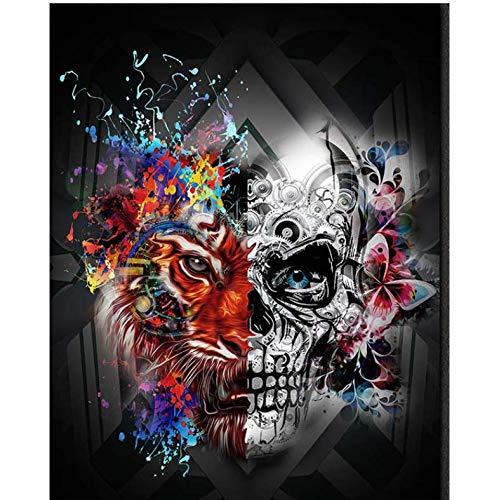 lerei 5D Kreuzstich Schädel Halloween GIF Skeleton Voller Diamanten Stickerei Wohnkultur 40X50Cm ()