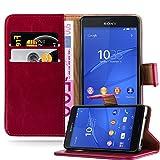 Cadorabo Hülle für Sony Xperia Z3 COMPACT - Hülle in Wein ROT – Handyhülle im Luxury Design mit Kartenfach und Standfunktion - Case Cover Schutzhülle Etui Tasche Book