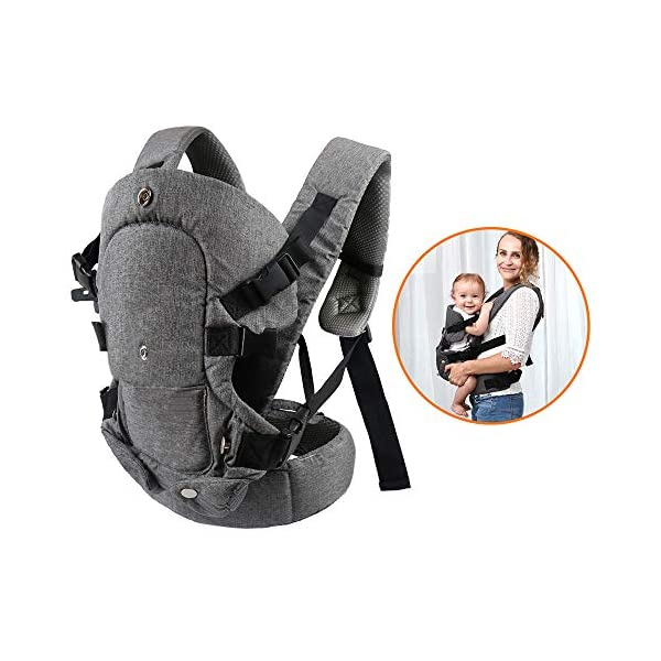 Xatan Baby Convertible Carrier, All Carry Position Newborn to Toddlers Ergonomic Carrier with Soft Breathable Air Mesh and All Adjustable Buckles Xatan ERGONOMIC CARRIER -- The premium quality baby carrier provides a convertible, ergonomic, facing-in/out,back carry etc different seat position, which offers the baby comprehensive care and support and also can help parents or carer free hands to do other work. PREMIUM QUALITY -- The Ergonomic Carrier is specialized customized with high quality and fine workmanship.Every details was revised repeatly! We are committes to offer the comfortable caring for your babies! COMFORTABLE HEAD/LEG SUPPORT -- The head and thigh support part can be adjusted according to the baby's body! The baby carrier will make sure the padded head support will hold small infants comfortably! 1