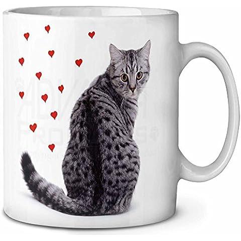 Argento Tabby Cat con cuori rossi Tazza di caffè di compleanno regalo di natale