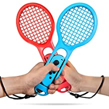 Tennis Racket for Nintendo Switch, Keten Twin Pack Tennis Racket for Nintendo Switch Joy-Con Controllers for Mario Tennis Aces Game (1X Blue & 1X Red )