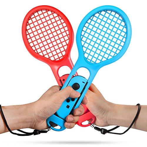 Keten Racchetta da Tennis per Nintendo Switch Pacco Doppia Racchetta da Tennis da gioco per Nintendo Switch Controller Joy Con per Mario Tennis Aces