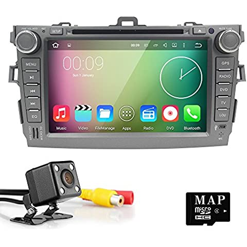 HIZPO 8 inch Quad Core Android 5.1 Lollipop Car Radio 2Din Stereo for TOYOTA COROLLA Support GPS Navigation SWC Car Radio Audio Video iPod WIFI 3G USB SD CAM-IN OBD2 DAB+ Reverse Camera
