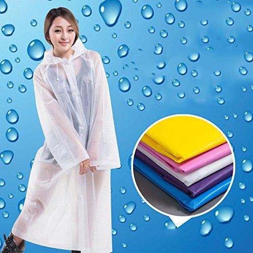 Rokoo Imperméable,Mode Femmes EVA Transparent Imperméable Poncho Portable Environnementale Imperméable Légère Longue Utilisation Pluie Manteau Moitié Transparent