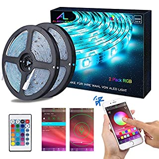 Bluetooth LED Streifen, ALED LIGHT 10M (2x5m) 32,8Ft Wasserdicht IP65 RGB 5050 300(2x150) LED Stripes mit Smart Bluetooth Kontroller+24Tasten Fernbedienung+12V 6A Netzteil für Haus, Garten, Dekoration