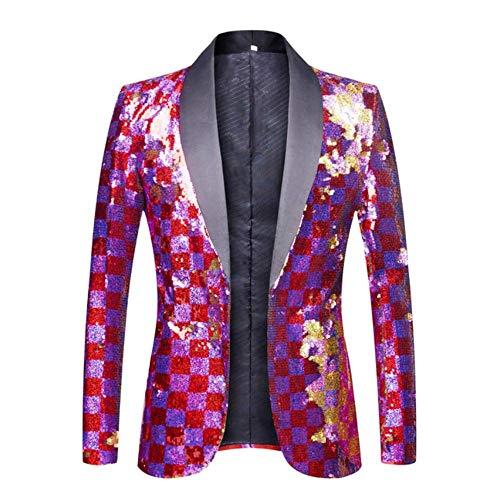 XFXFXZXZ Blazer DJ Singer Anzug Jacke Outfit Herren Bunt Karo Lila Rot Gold Rosa Pailletten Blazer 4XL