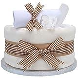 Signature Beige étagère simple gâteau de couches Unisexe/Panier/Baby Pour Bébé Douche cadeau idées/maternité Laisse/nouveau bébé cadeau/envoi rapide