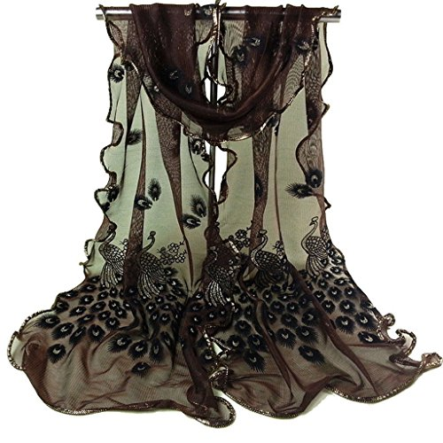 Bluelans® Damenschal Weiche Blumen Pfau Printed Lange Schals Stola Modeschal (Schwarz)