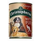 Christopherus Alleinfutter für Hunde, Nassfutter, Känguru, 100% Pur, 6 x 400 g Dose