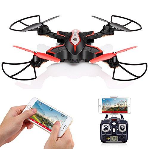 DoDoeleph Drohne mit HDKamera, SYMA X56W FPV Faltbar RC Drone Fernbedienung Quadcopter App Steuerung Textile Video Tragbar Hubschrauber, Automatische Höhenhaltung, 3D Looping