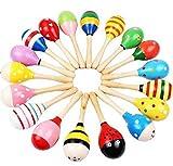 Newin Star mini maracas Egg Handbell Sand Hammer bambino giocattoli in legno maracas sonaglio shaker musicale educativo, Kids Learning Fun giocattolo musicale per bambini (2pcs)