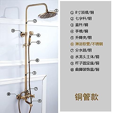 Tougmoo Douche Euro Bronze antique Douche Vaporisateur de douche Ensemble de douche pour robinets en cuivre One Ship Specials, F87-a1(tube Cuivre)