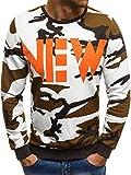 OZONEE Mix Herren Sport Fitness Training Crewneck Täglichen Modern Sweatshirt Langarmshirt Sweatjacke mit Motiv Pullover Prints Camouflage Pulli MECH/2059 WEIß-ORANGE S