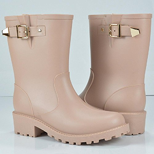 Mode Regen Schuhe Anti-Slip Verschleiß Regen Stiefel Martin Gummi Schuhe apricot
