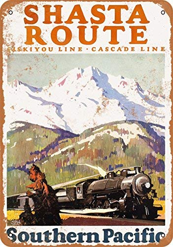 UKSILYHEART Iron Painting Signs Home Decor 8 X 12 Inches Metal Plaque 1927 Southern Pacific Railroad Shasta Route Siskiyou and Cascade Lines Vintage Look -