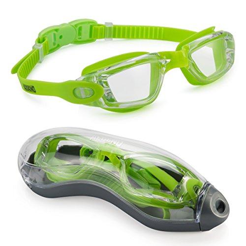 Aegend GRÜN Schwimmbrille mit klaren Gläsern Schwimmbrille No Leaking Anti Fog UV Schutz Triathlon Schwimmbrille mit freiem Schutz Fall für Erwachsene Männer Frauen Jugend Kinder Kind