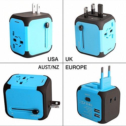 Adaptador de Viaje Internacional Adaptador y Cargador Viaje del Mundo Es Adaptador de Corriente Universal,con Doble USB y Seguridad de Fusibles para Los Enchufes de Pared de Estados Unidos Inglaterra Australia Europa,Uso en mas de 150 Paises (blue)