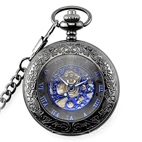 SOKI Magnifier Front Case Black Roman Numerals Skeleton Mechanical Mens Pocket Watch