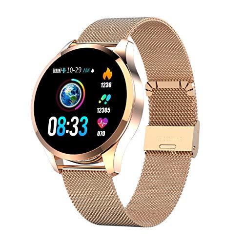 Smartwatch Mujer Hombre, Impermeable Reloj Inteligente Elegante Monitores de Actividad Impermeable IP67 con Monitor de Sueño Pulsómetros Podómetro Contador de Caloría Compatible con iOS Android (gold)
