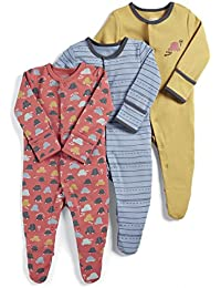 Mamas and Papas Baby Boys' 3 Pack Aeroplane Sleepsuits Footies