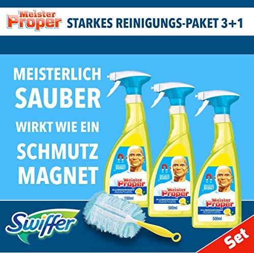 Set: 3xMeister Proper Allzweckreiniger Spray 500ml +Swiffer Staubmagnet Starter