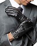 YISEVEN Herren Touchscreen Lederhandschuhe Wolle Gefüttert Elegant Winter Warm Leder
