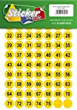 75 nummerierte Klebepunkte, 25 mm, gelb, aus PVC Folie, wetterfest, Markierungspunkte Kreise Punkte Zahlen Nummern Aufkleber