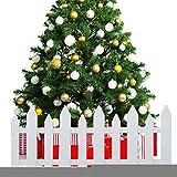 QUUY Cerca del árbol de Navidad, Cerca de piquete de PVC Blanco Miniatura Jardín de la casa Borde...