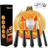 Weeygo Kit per intagliare la zucca, Scultura della zucca di Halloween dell'acciaio inossidabile per decorazione della festa, 5 Utensili e 10 carta per intaglio