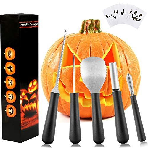 Weeygo Kürbis-Schnitzset, Halloween Kürbis Schnitzwerkzeuge für DIY Kürbis Laterne Dekoration mit 10 Papier zum Schnitzen und 5 Werkzeuge