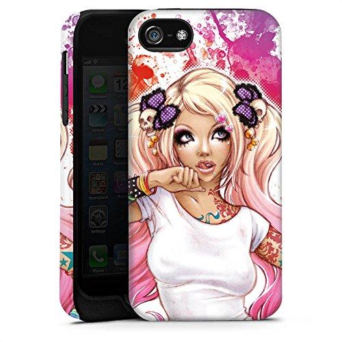 Apple iPhone 6 Housse Étui Silicone Coque Protection Fille Tatouages Bande dessinée Cas Tough terne