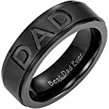 Willis Judd New Mens Black Titanium DAD Ring Engraved Best Dad Ever with Velvet Ring Box
