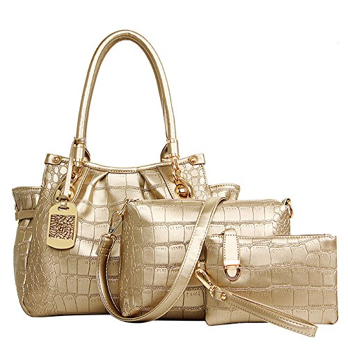 fanhappygo Frauen-Handtaschen-Schulter-Beutel Tote-Geldbeutel PU-ledernen Damen Messenger Hobo Bag gold