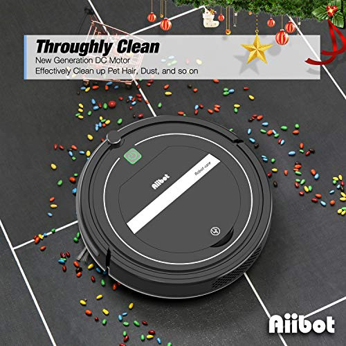 Aiibot Aspirateur Robot Intelligent à Aspiration Puissante, Nettoyeur Efficace des Tapis, Moquettes et Sols Durs, Excellent contre les Poils d'Animaux, Télécommande, Filtre HEPA