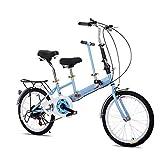 DiLiBee 50,8 cm Tragbares Klapprad Tandem-Fahrrad Familienfahrrad aus Hartstahl, 2-Sitzer, für 2 Kinder, 7 Geschwindigkeiten.