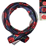 Remembrance Day Flower Poppies Floral Printed Red Poppy Scarf Neck Wrap