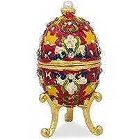 4multicolore fiore foglia su rosso smaltato Faberge stile (Smalto Jeweled Trinket)