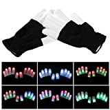 TJW LED-Handschuhe, leuchtende Handschuhe, bunte blinkende Fingerhandschuhe, bunte Handschuhe für Lichtshow, Disco, Party, Clubbing, Geburtstag, Heiligtümer
