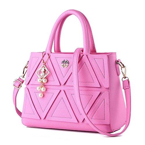 HQYSS Damen-handtaschen Koreanische süße Stereotypen Volltonfarbe PU Leder geprägt weibliche Schulter Messenger Tasche , pink (Tommy Hilfiger Tasche Pink)