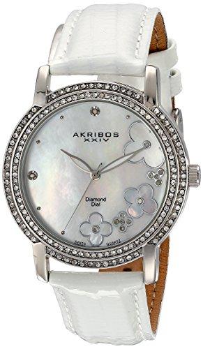Akribos XXIV da donna, Lady Diamond-Orologio svizzero al quarzo, cinturino in pelle